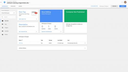 Google Tag Manager - Configure Container - Description Added