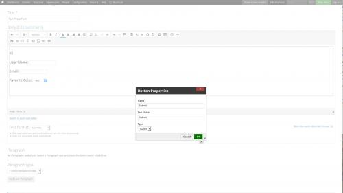 D7 - Text Editor - WYSIWYG Form Controls - DocuSign - Configure a Submit Button