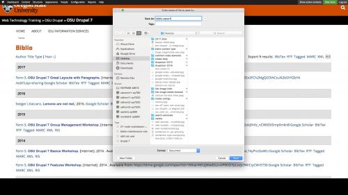 Biblio - Export - Save File
