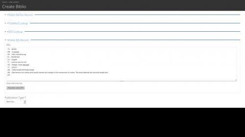Biblio - Import Single File - Paste Code Into RIS Field