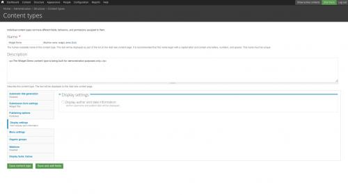 D7 - Fields - Define Custom Node Type - Uncheck Display Author and Date Information Checkbox